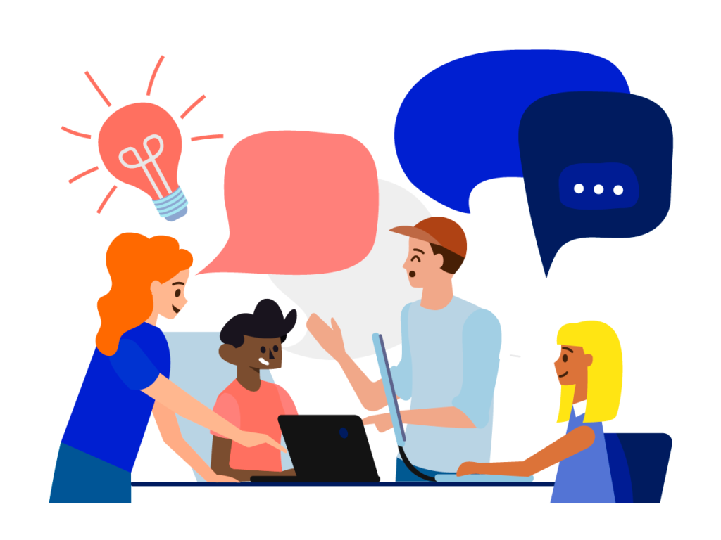 illustration of people discussing with speech bubbles and lightbulbs
