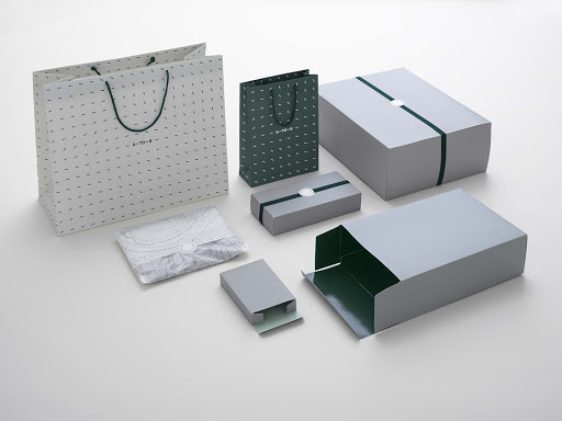 grey retail boxes and bags