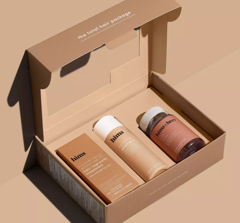 brown hair regrowth products in a brown box