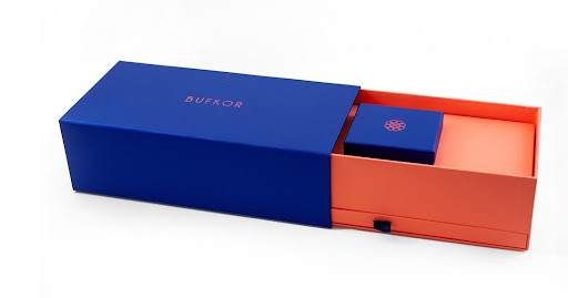 blue and orange Bufkor jewelry boxes