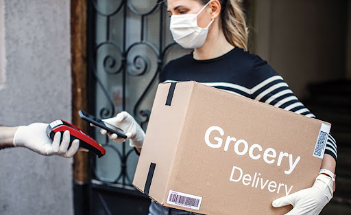 woman delivering groceries