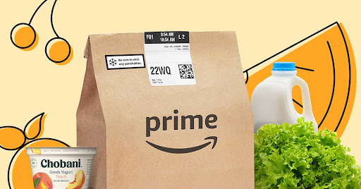 amazon prime grocery bag with animation in the background