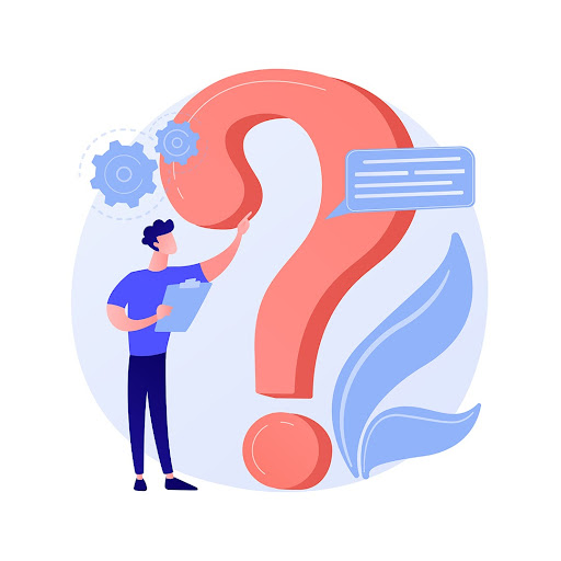 red and blue illustration of man and question mark